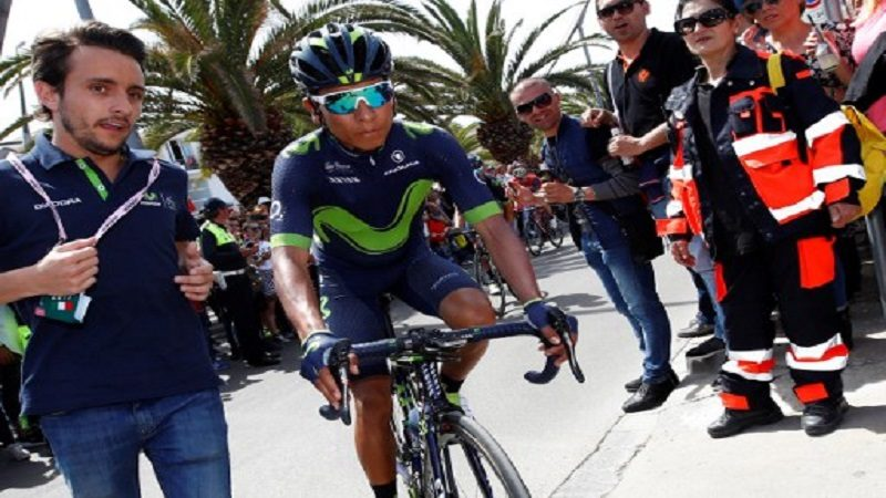 Colombia's Nairo Quintana arrives to take the start of the first stage of the 100th Giro d'Italia, Tour of Italy, from Alghero to Olbia on May 5, 2017 in Sardinia.  / AFP PHOTO / Luk BENIES