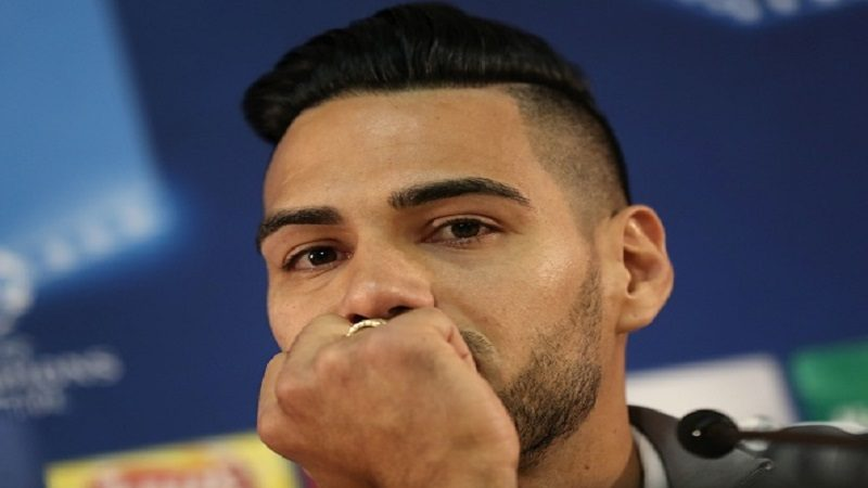 Monaco's Colombian forward Radamel Falcao looks on as he gives a press conference at the Louis II stadium in Monaco on November 1, 2016, on the eve of the UEFA Champions League football match AS Monaco vs CSKA Moscow. / AFP / VALERY HACHE        (Photo credit should read VALERY HACHE/AFP/Getty Images)
