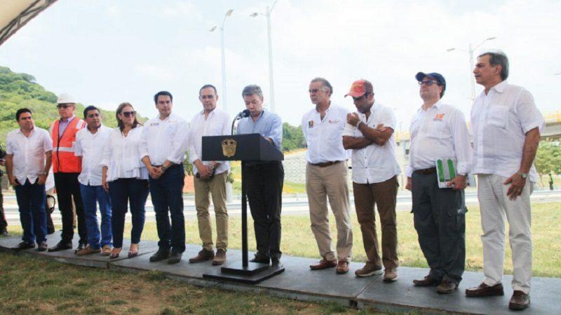 Presidente Santos inaugura vía entre Puerto Colombia y Barranquilla