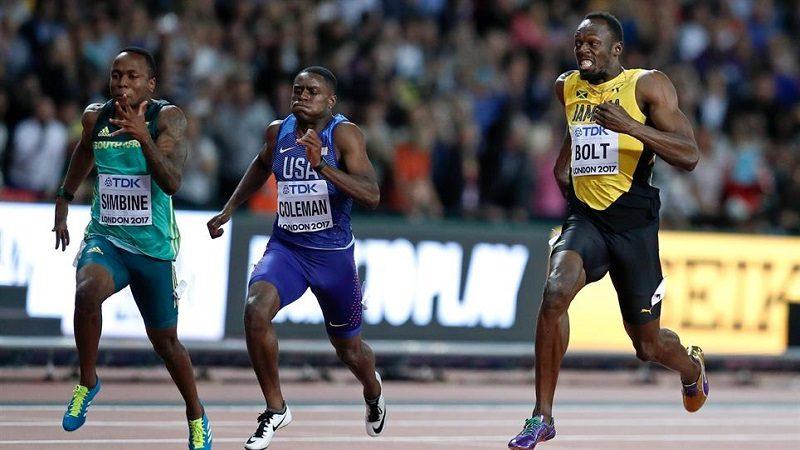 Usain Bolt, tercero en los últimos 100 metros de su carrera