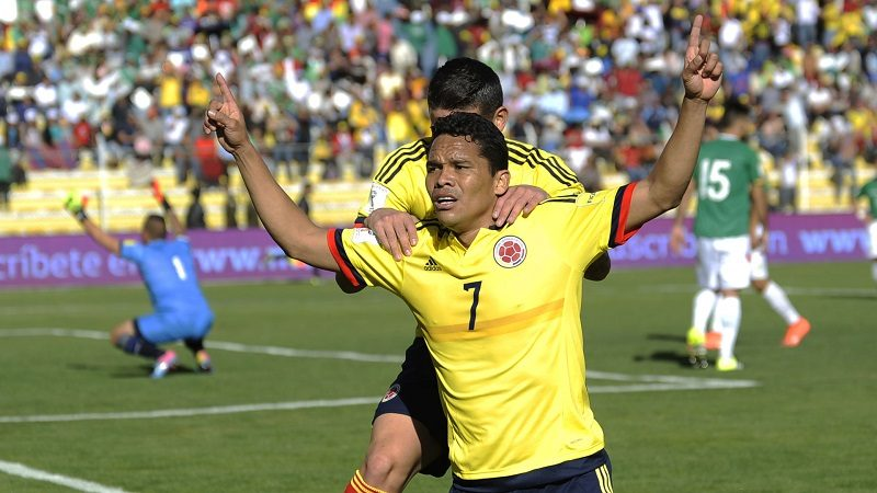 Colombia's Carlos Bacca celebrates after scoring against Bolivia during their Russia 2018 FIFA World Cup South American Qualifiers' football match, in La Paz on March 24, 2016.   AFP PHOTO / JORGE BERNAL / AFP / JORGE BERNAL        (Photo credit should read JORGE BERNAL/AFP/Getty Images)