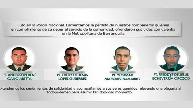 Ya son 4 los policías muertos y 42 heridos por el atentado en Barranquilla