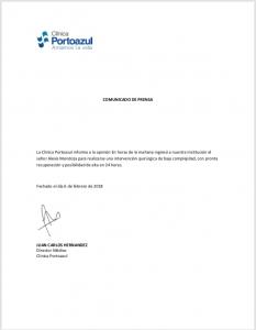 Alexis Mendoza fue operado de urgencia en la Clínica Portoazul 1