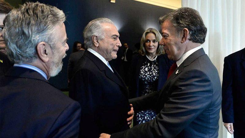 Este martes 20 de marzo, se reúnen en Brasilia los presidentes Santos y Temer para repaso a integración colombo-brasileña