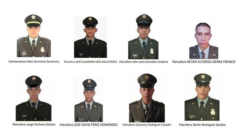 Estos son los ocho policías asesinados en Antioquia