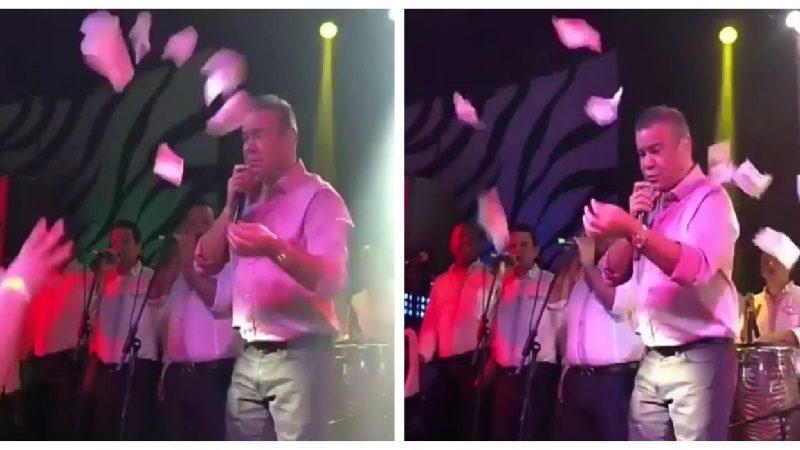 Llovieron billetes durante presentación de Iván Villazón en Barranquilla