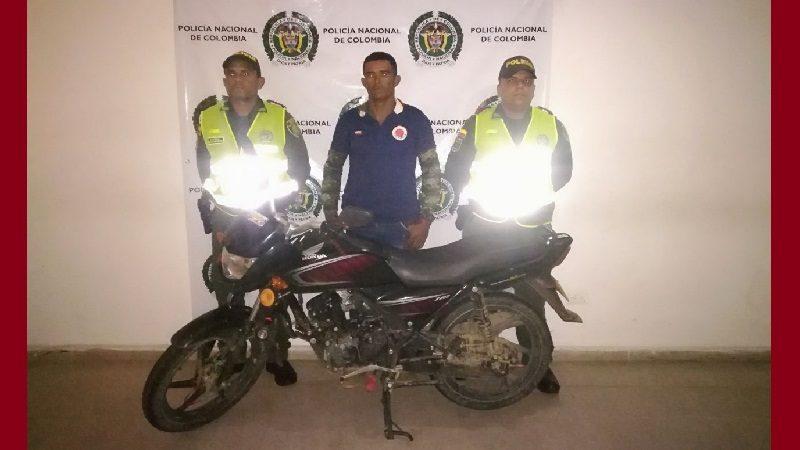 Andaba en una moto robada y fue capturado en el corregimiento Arroyo de Piedra