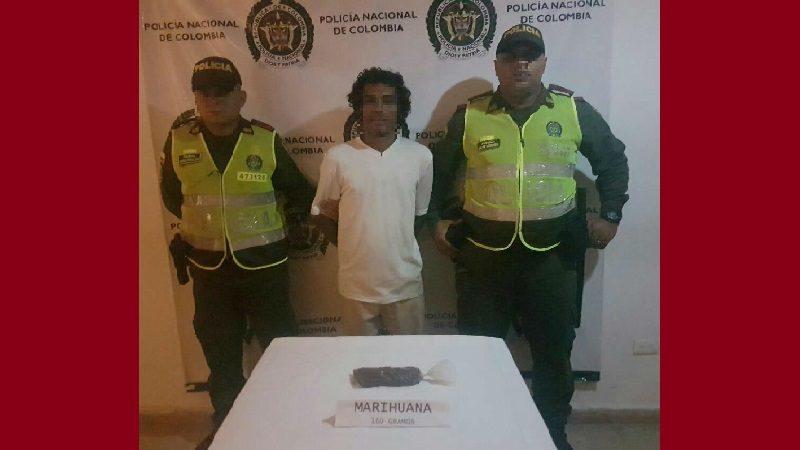 Capturan a hombre que llevaba 160 dosis de marihuana en Luruaco, Atlántico