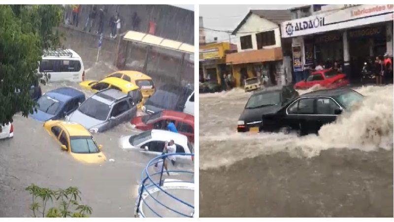 Carros arrastrados por arroyos y barrios inundados deja aguacero en Barranquilla