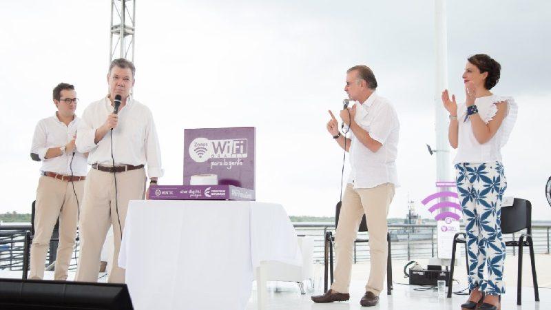 Presidente Santos inauguró cuatro nuevas zonas wifi gratis para municipios del Atlántico