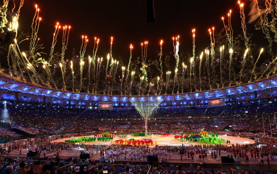 Fireworks goes off after the Olympic flame was extinguished during the closing ceremony in the Maracana stadium at the 2016 Summer Olympics in Rio de Janeiro, Brazil, Sunday, Aug. 21, 2016. (AP Photo/Natacha Pisarenko)