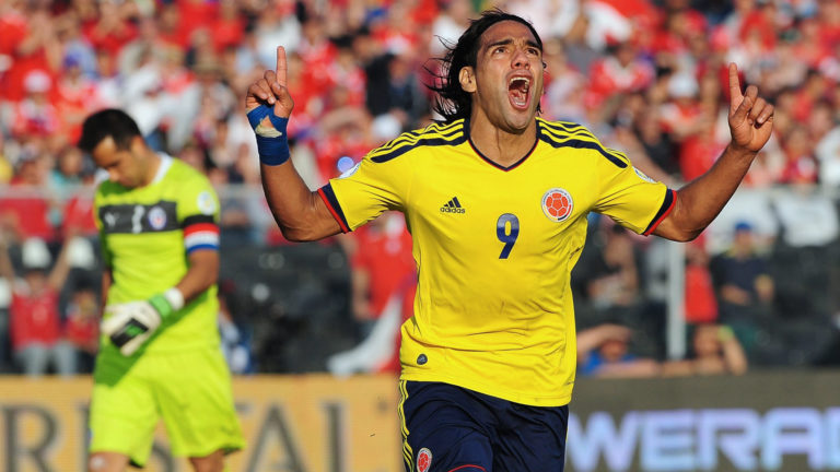 Colombian forward Radamel Falcao celebrates after scoring during a Brazil 2014 World Cup South American qualifier match at the Estadio Monumental in Santiago on September 11, 2012. AFP PHOTO / CLAUDIO SANTANA        (Photo credit should read CLAUDIO SANTANA/AFP/GettyImages)