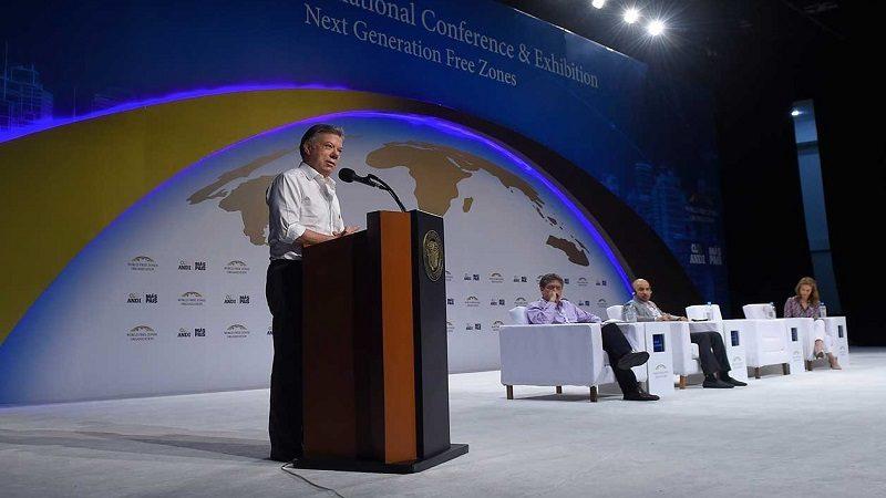 Al participar en el Tercer Congreso Mundial de Zonas Francas, este jueves en Cartagena, el Presidente Santos reiteró el apoyo del Gobierno a estas zonas, porque son generadoras de empleo, bienestar y desarrollo para el país.