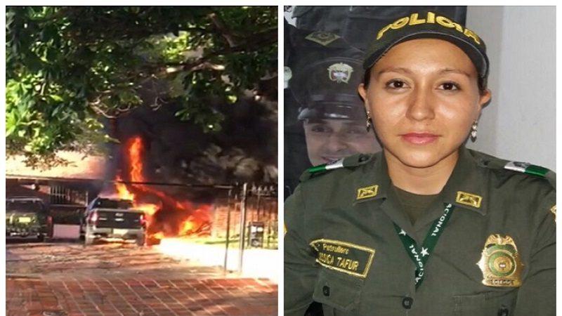 Patrullera arriesgó su vida por salvar a dos personas de un incendio en Barranquilla