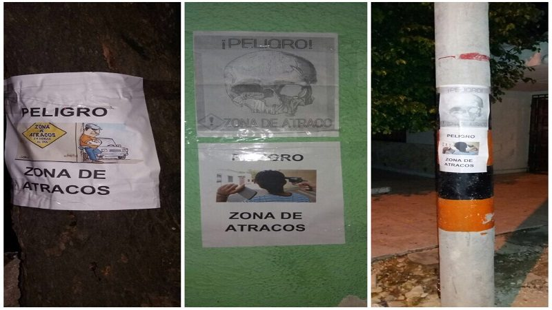 Con carteles de 'Peligro Zona de Atracos' intentan alejar a los ladrones del barrio San Felipe