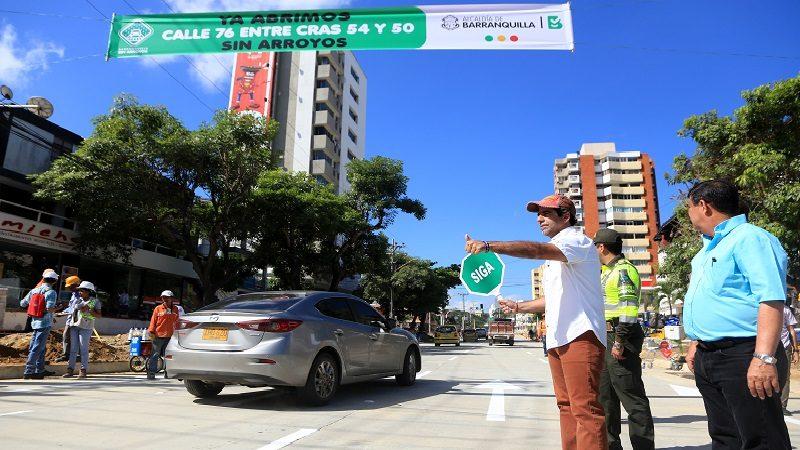 Alcalde Char habilitó la calle 76, desde la carrera 54 hasta la 49C