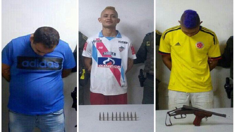 Capturan a tres personas por porte ilegal de armas en San Roque, Rebolo y Boston