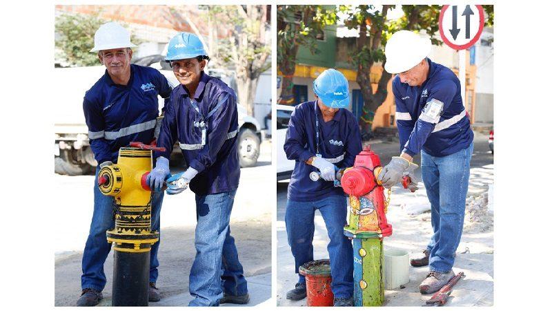 En Barranquilla hasta los hidrantes de Triple A se vistieron de carnaval