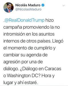 Maduro pide a Trump una reunión para iniciar diálogo