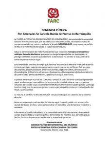 Por amenazas, exguerrilleros de las Farc suspende rueda de prensa en Barranquilla1