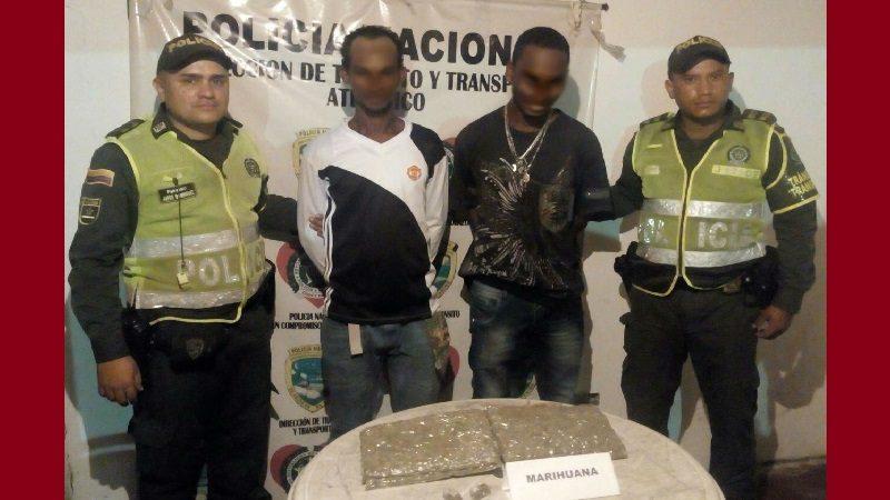 Caen dos hombres que transportaban 1.100 dosis de marihuana entre Barranquilla y Cartagena