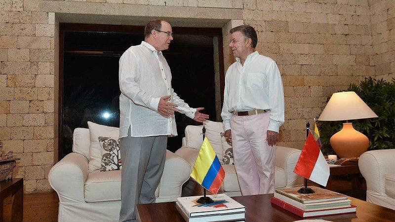 Diálogo en la noche de este domingo entre el Presidente Juan Manuel Santos y el Príncipe Alberto II de Mónaco, quien estará de visita en Colombia por varios días.