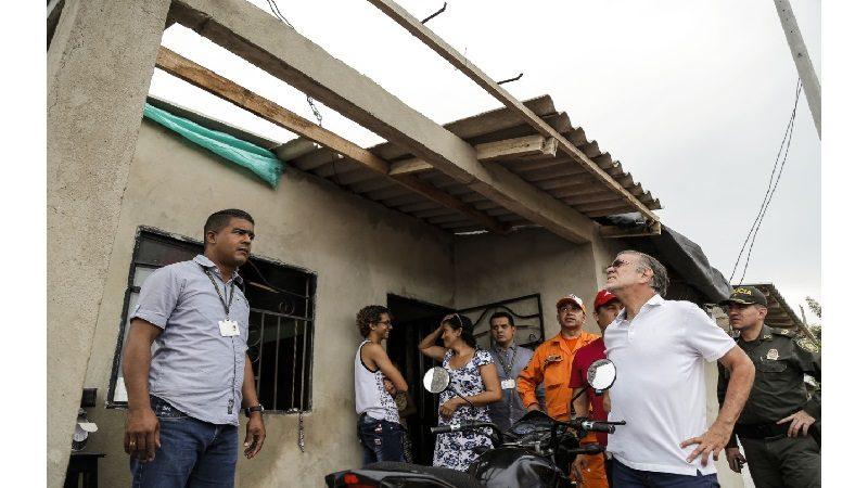 Aumenta a 585 el número de viviendas afectadas por fuerte vendaval en Atlántico