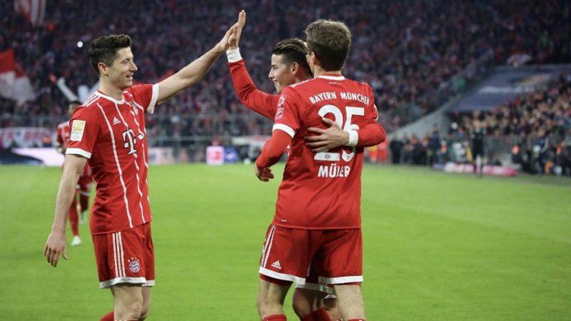 Brillante partido de James en la goleada 6-0 del Bayer Múnich frente al Borussia Dortmund