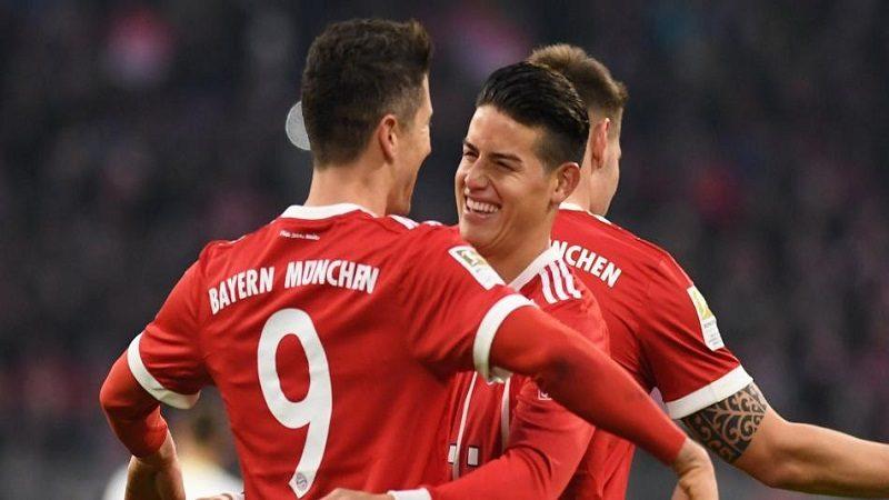 El Bayern de James Rodríguez goleó 5-1 al Borussia Mönchengladbach, en la Bundesliga
