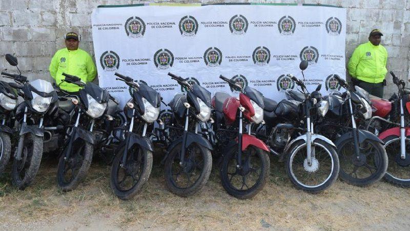 Policía recupera 13 motos que habían sido robadas en Atlántico