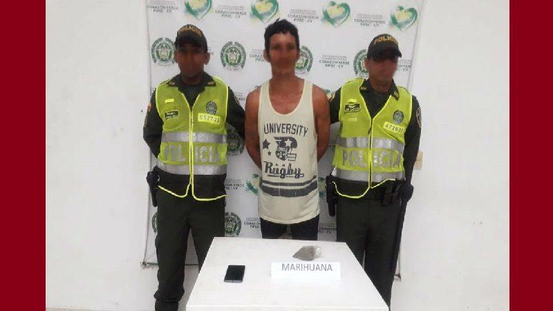 Cayó 'El Gringo' con 100 gramos de marihuana en Palmar de Varela