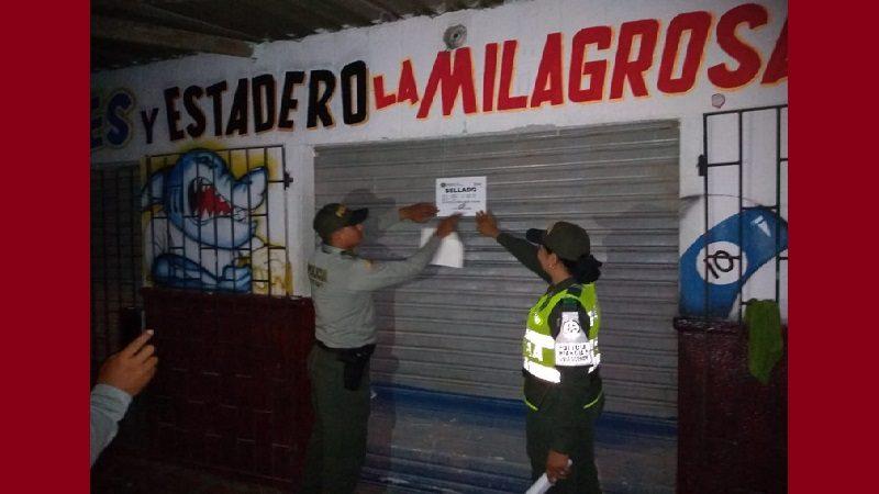 Policía cierra establecimientos por presencia de menores de edad y falta de documentación, en Malambo