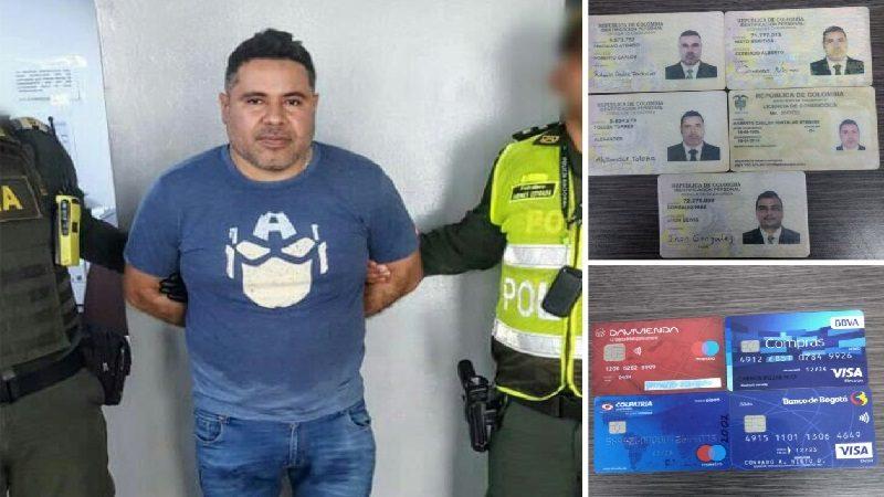 Cae hombre con cédulas falsas y tarjetas clonadas en las afueras de un Bancolombia, en Barranquilla