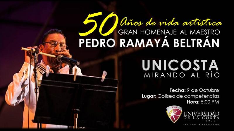 Gran homenaje al maestro Pedro Ramayá Beltrán en la Universidad de la Costa