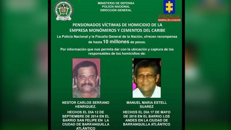 Recompensa de $10 millones por sicarios de dos pensionados asesinados en Barranquilla