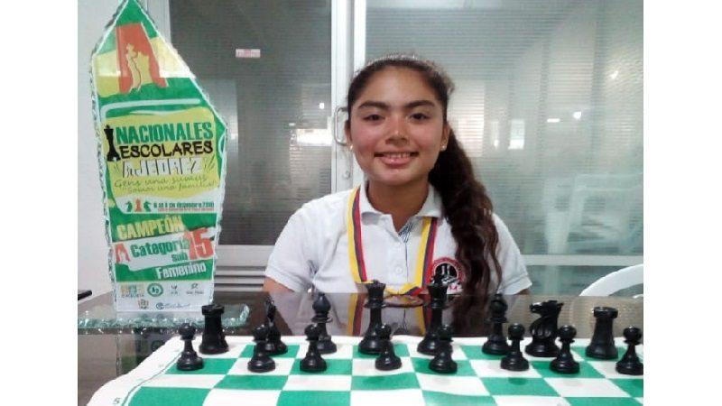 Valentina Ruiz, en representación de Malambo, campeona nacional escolar de ajedrez Sub -15, en Caquetá