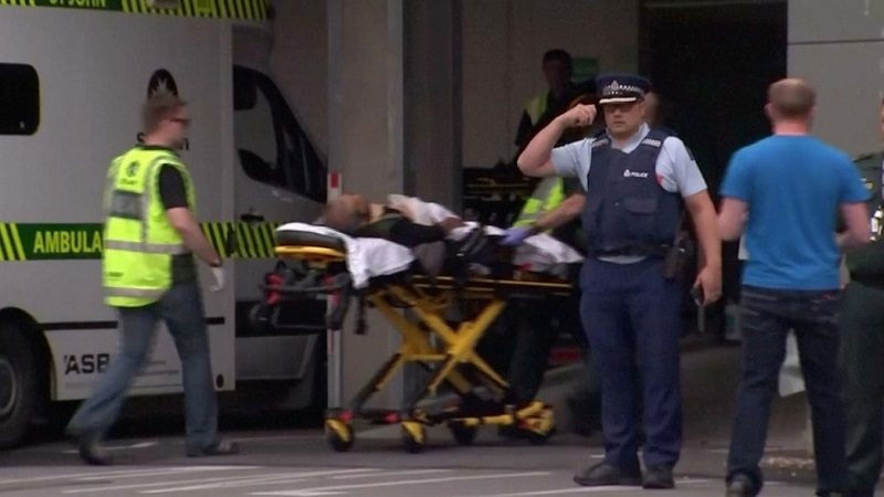 Emergency services personnel transport a stretcher carrying a person at a hospital, after reports that several shots had been fired, in central Christchurch, New Zealand March 15, 2019, in this still image taken from video.  TVNZ/via REUTERS TV    ATTENTION EDITORS - THIS IMAGE WAS PROVIDED BY A THIRD PARTY. NO RESALES. NO ARCHIVES. NEW ZEALAND OUT. AUSTRALIA OUT. Digital: NO USE NEW ZEALAND INTERNET SITES / ANY INTERNET SITE OF ANY NEW ZEALAND OR AUSTRALIA BASED MEDIA ORGANISATIONS OR MOBILE PLATFORMS . For Reuters customers only.