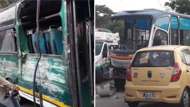 Varios heridos deja choque entre dos buses en el barrio San Isidro