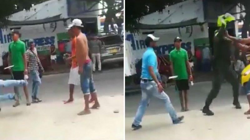 A punta de cachetadas policía acabó una riña entre venezolanos