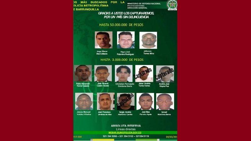 Este es el nuevo cartel de los 13 más buscados en Barranquilla y su área metropolitana