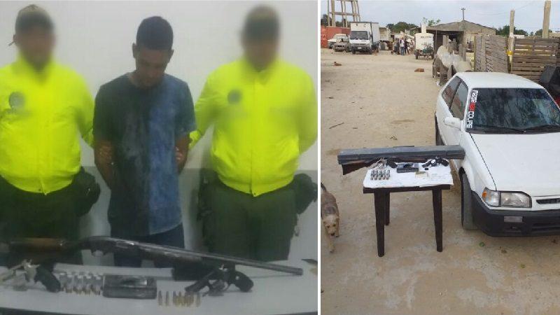 Hallan armas de fuego y droga escondidas en un parqueadero en el municipio de Soledad
