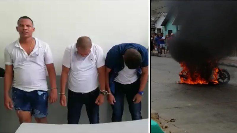 Capturan y queman moto a tres atracadores en el barrio Las Nieves