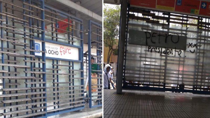 Vándalos atacaron estaciones de Transmetro en marcha del Día del Trabajo, en Barranquilla